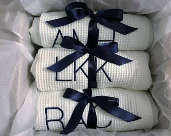 Personalized  Set of Six  Pool, Wraps, Spa Wrap, Towel Wrap, Waffle Towel Wrap, Monogram Towel  Wrap