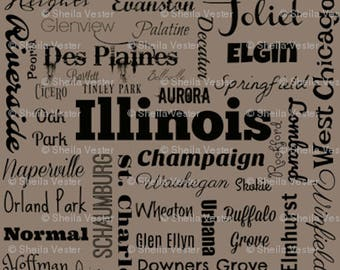 Illinois Cities fabric yardage - IL typography fabric by the yard - gray and black - orange and black
