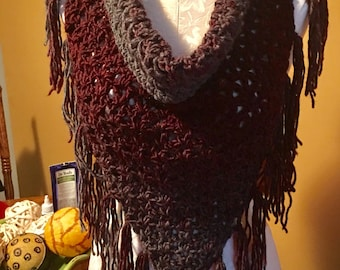 SALE!!! V-Stitch Triangle Cowl with button Enclosure in Burgundy and Grey made in very soft yarn.