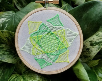 Hand Embroidered Geometric Design 3 Inch Hoop
