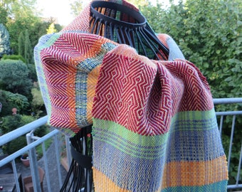 Handwoven scarf, made of cottolin and cotton