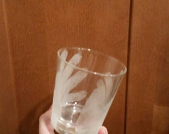Hand etched handprint glass