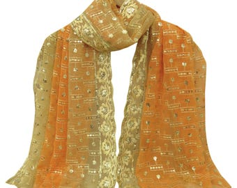 Vintage Dupatta Long Indian Scarf Embroidered Georgette Fabric Stole Peach Hijab VDPL2984