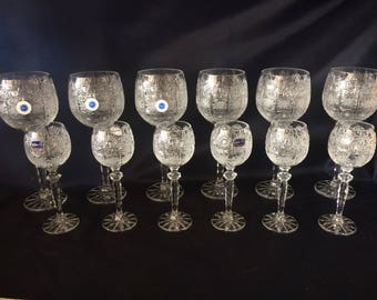 Czech bohemia crystal glass -Liquer glasses 16cm 6pc