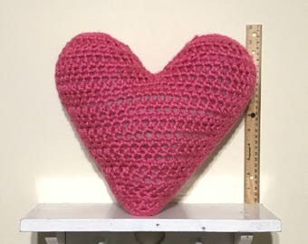 Handmade Crochet Heart Pillow - Pink