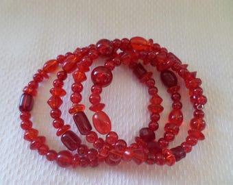 Red Beaded Cuff Bracelet, Beaded Cuff Bracelet, Red Memory Wire Bracelet, Red Beaded Bracelet, Beaded Jewelry, Beaded Bracelet