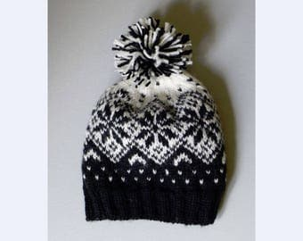 Black and White Snowflake Handknit Wool Beanie Hat with a Marled Pompom