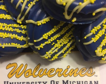 University of Michigan Chocolate Covered/Dipped Oreos, U of M Cookies, Michigan Wolverines, Maize and Blue Desserts/Treats/ Snacks/Food