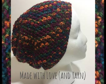 Handmade Crochet Simple Slouch Hat - Red/Gold/Blue/Green