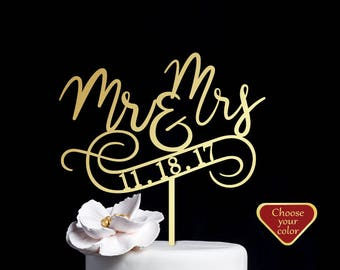 Wedding cake topper, Mr and Mrs Cake Topper date, Cake Toppers for Wedding Mr and Mrs, Personalized Cake Topper wood, Mr and Mrs, CT#267