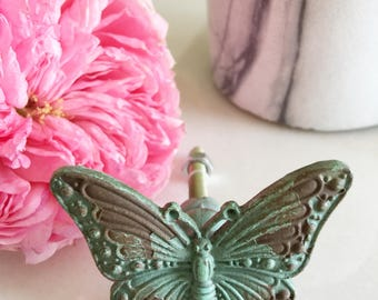 Butterfly Knobs , Vintage Style Kitchen Cabinet Knobs , Bathroom Accessories , Rutic Hardware , Edge Drawer Pull ,