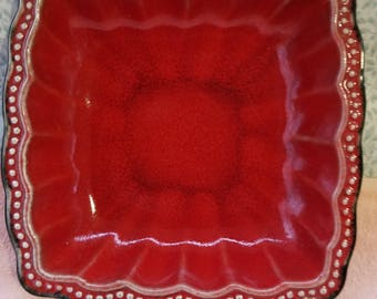 """Roscher & Co HOBNAIL RED SQUARE Salad Plate 8"""" - Great Condition"""