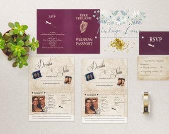 passport style wedding invitations travel theme wedding invitations destination wedding invitations irish passport destination plane ireland - Travel Themed Wedding Invitations