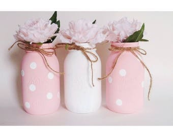 Pink Mason Jars, Pink Babyshower, It's A Girl, Pink Polka Dots, Pink Birthday
