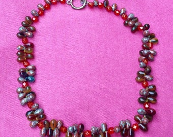 Picasso glass beaded necklace