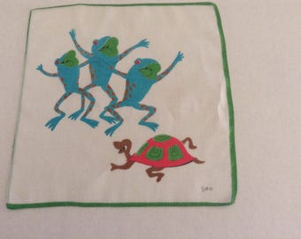Vintage Handkerchief / Toads and Turtle