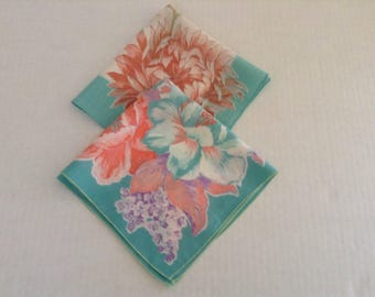 2 Vintage Handkerchiefs / Turquoise and Coral