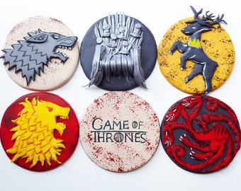 Game of Thrones cupcake toppers fondant 6 psc handmade Edible topper