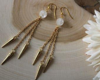 Crystal Quartz Gold Dangle Earrings