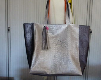 Tote bag purple and silver # bag large tote # filled all silver cored # all star # Tote bag # Tote bag # filled everything