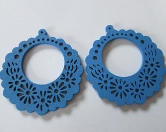 prints 2 wood flowers, 56 mm blue wood beads