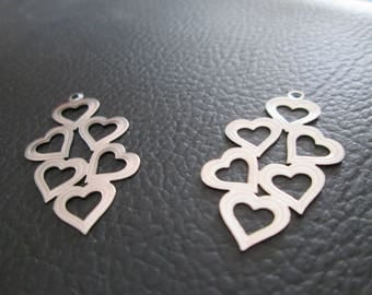 prints 2 / 29 x 16 mm stainless steel heart charm