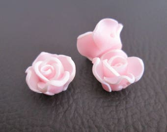 2 beads 12mm white and pink polymer clay pink flower