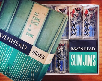 Set of 6 Vintage Boxes Ravenhead Slimjims Highball Glasses - 1960s