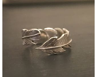Sterling Silver Adjustable Feather Ring Best Selling Design