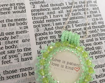 Bead embroidery necklace religious.  Christian necklace.  Mint green pendant with Bible verse.  Love is patient.