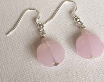 Pink dangle earrings. Pink drop earrings. Pink earrings. On silver ear wire.