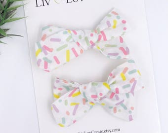 Baby Girl hand tied Bow - Nylon Headbands - Hair clip - Infant / Toddler /  Fabric Hair Bows / Clips - birthday - sprinkles