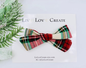 Baby Girl hand tied Bow - Nylon Headbands - Hair clip - Infant / Toddler /  Fabric Hair Bows / Clips - red / green - Christmas plaid
