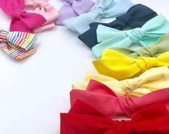 Girl Bows - Nylon Headbands - Hair clip - Infant / Toddler /  Fabric Hair Bows / Clips - solid rainbow colors