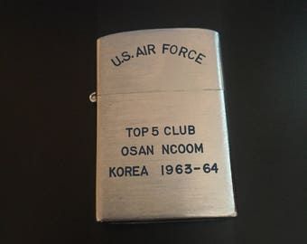 U.S. Air Force Top 5 Club Lighter Osan Ncoom Korea 1963-64