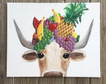 Bertha- Cow with Fruit Hat