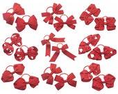 Red grosgrain ribbon hair bows on thin bobbles, toddler hair elastics, red hair accessories, girls red hair fashion bows, toddler hair ties