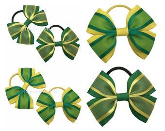 Emerald green and yellow organza hair bows on thick bobbles, Emerald green and yellow school uniform hair accessories, thick hair elastics