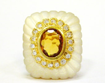 18K Mother of Pearl, Diamond, & Citrine Cocktail Ring - X4069