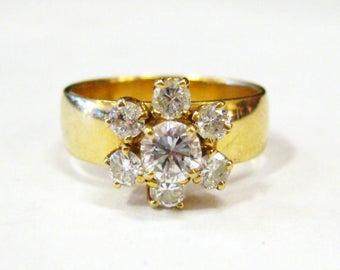 14K Diamond Flower Ring - X2870