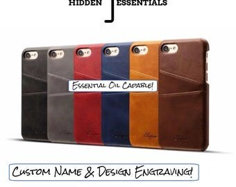 E.O. iPhone 7 Custom Engraved Leather Case Cover with Credit Card Slots - Essential Oil Capable - BRAND NEW!!