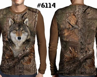 New ultramodern 3D  High Quality  Hunting Wolf Forest Mens  Long Sleeve Brown T-shirt