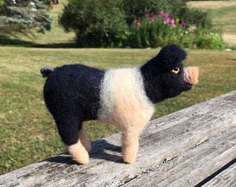 Needle Felted Hampshire Pig. Barnyard farm animal. One of a kind.