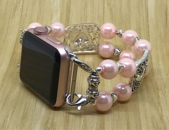 Apple Watch Band, Women Bead Bracelet Watch Band, iWatch Strap, Apple Watch 38mm, Apple Watch 42mm, Silver Hearts Faux Pink Pearl 7 1/4""