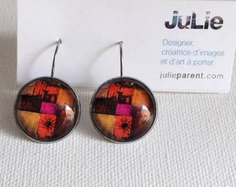 "Earrings ""red abstract', glass cabochon 18 mm saddled on sleeper in stainless steel, hypoallergenic, art to wear"