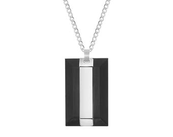 "Carbon Fiber Rectangle Dog Tag with Stainless Steel Inlay Pendant, 24"" Chain Necklace"