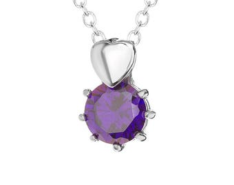 """Purple Solitaire Cubic Zirconia (CZ) Heart Pendant with Stainless Steel, 18"""" Chain Necklace"""