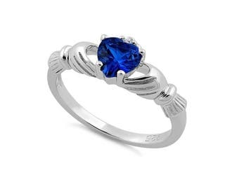 Claddagh Sapphire Blue Sterling Silver CZ Ring