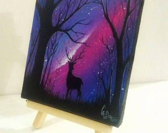 Deer Night view - Miniature
