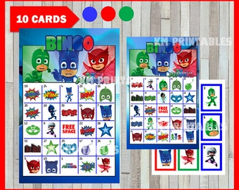 Pj masks Bingo Game - Printable - 10 different Cards - Party Game Printable - Half Page Size - INSTANT DOWNLOAD